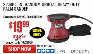 2 Amp 5 in. Random Orbital Heavy Duty Palm Sander
