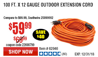 100 ft. x 12 Gauge Outdoor Extension Cord