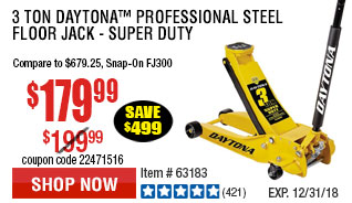 3 Ton Daytona™ Professional Steel Floor Jack - Super Duty3 Ton Daytona™ Professional Steel Floor Jack - Super Duty