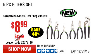 6 Pc Pliers Set