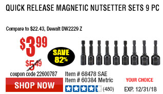 SAE Quick Release Magnetic Nutsetter Set 9 Pc