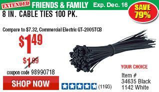 8 in. Cable Ties 100 Pk.