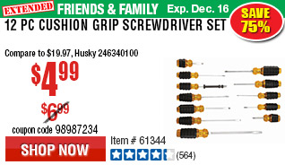 12 Pc Cushion Grip Screwdriver Set