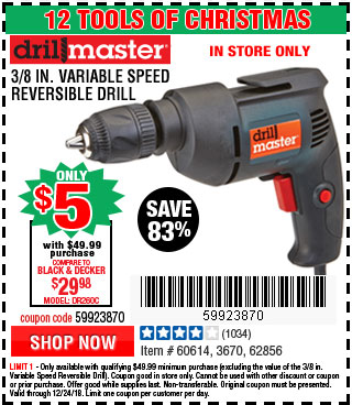 3/8 in. Variable Speed Reversible Drill