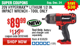 20V Hypermax™ Lithium 1/2 in. Impact Wrench - Tool Only