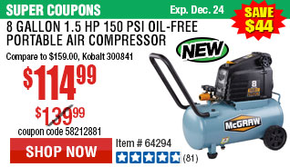 8 gallon 1.5 HP 150 PSI Oil-Free Portable Air Compressor