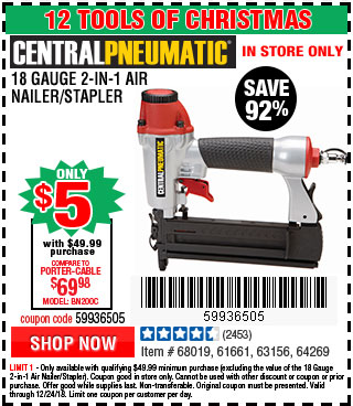 18 Gauge 2-in-1 Air Nailer/Stapler