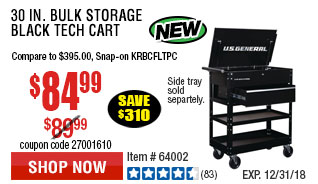 30 in. Bulk Storage Black Tech Cart