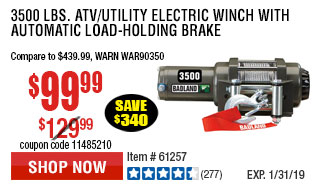 3500 lbs. ATV/Utility Electric Winch with Automatic Load-Holding Brake