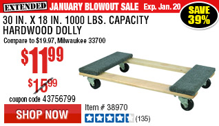 30 In x 18 In 1000 lbs. Capacity Hardwood Dolly