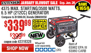 4375 Max Starting/3500 Running Watts, 6.5 HP  (212cc) Generator EPA III  with GFCI Outlet Protection
