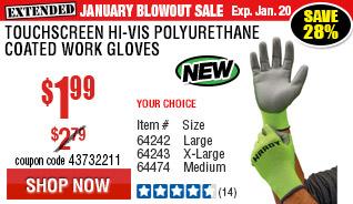Touchscreen Hi-Vis Polyurethane Coated Work Gloves Medium