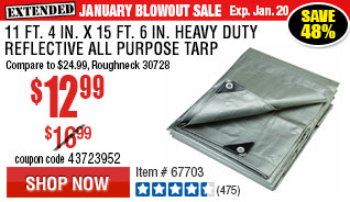 11 ft. 4 in. x 15 ft. 6 in. Silver/Heavy Duty Reflective All Purpose/Weather Resistant Tarp