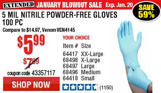 5 mil Nitrile Powder-Free Gloves 100 Pc Medium