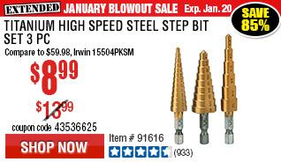 Titanium High Speed Steel Step Bit Set 3 Pc