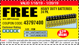 Free AQ-1 Free YC 24pc AA or AAA HD Battery w/Any Purch