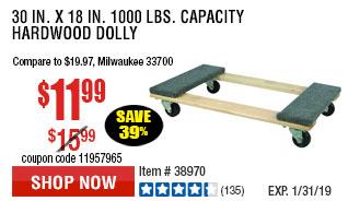 30 In x 18 In 1000 lbs. Capacity Hardwood Dolly