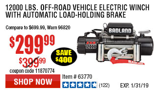12000 lbs. Off-Road Vehicle Electric Winch with Automatic Load-Holding Brake