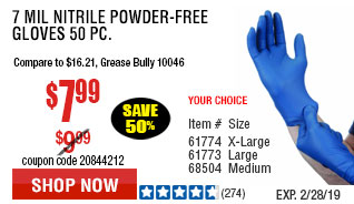 7 mil Nitrile Powder-Free Gloves 50 Pc Medium