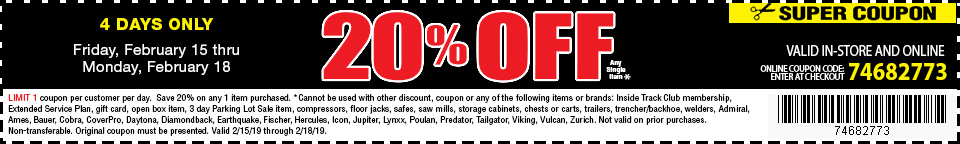 20% off single item