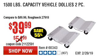 1500 lbs. Capacity Vehicle Dollies 2 Pc