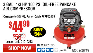 3 gal. 1/3 HP 100 PSI Oil-Free Pancake Air Compressor