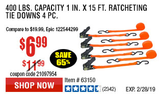 400 lbs. Capacity 1 in. x 15 ft. Ratcheting Tie Downs 4 Pc