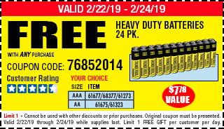 Free AQ-1 Free YC 24pc AA or AAA HD Battery w/Any Purch