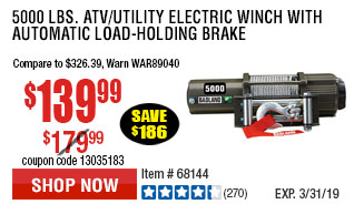 5000 lbs. ATV/Utility Electric Winch with Automatic Load-Holding Brake