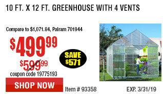 10 ft. x 12 ft. Greenhouse with 4 Vents