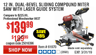 12 in. Dual-Bevel Sliding Compound Miter Saw With Laser Guide System