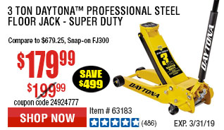 3 Ton Daytona™ Professional Steel Floor Jack - Super Duty