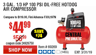 3 gal. 1/3 HP 100 PSI Oil-Free Hotdog Air Compressor