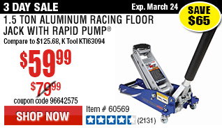 1.5 Ton Aluminum Racing Floor Jack with Rapid Pump