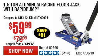 1.5 Ton Aluminum Racing Floor Jack with RapidPump®