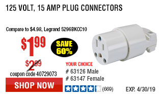 125 Volt, 15 Amp Female Plug Connector
