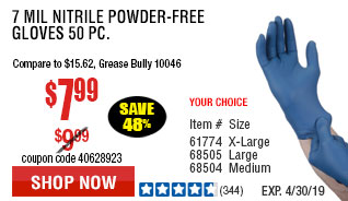 7 mil Nitrile Powder-Free Gloves 50 Pc Medium