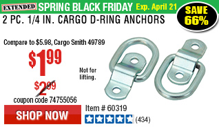 2 Pc 1/4 in. Cargo D-Ring Anchor