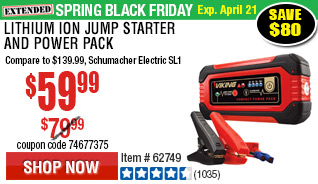 Lithium Ion Jump Starter and Power Pack
