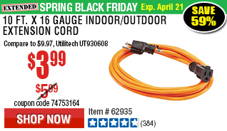 10 ft. x 16 Gauge Indoor/Outdoor Extension Cord