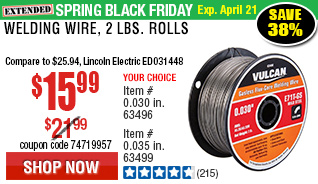 0.030 in. E71T-GS Flux Core Welding Wire, 2.00 lbs. Roll