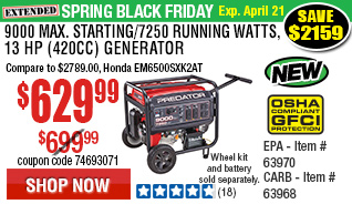 9000 Max Starting/7250 Running Watts, 13 HP  (420cc) Generator CARB with GFCI Outlet Protection