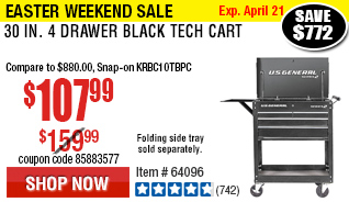 30 in. 4 Drawer Black Tech Cart