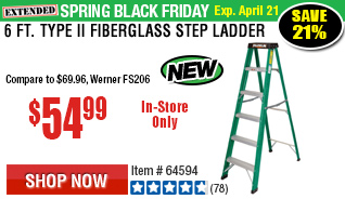 6 Ft. Type II Fiberglass Step Ladder