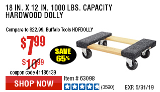 18 In. x 12 In. 1000 lbs. Capacity Hardwood Dolly