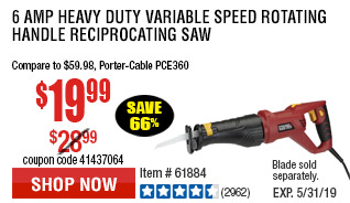 6 Amp Heavy Duty Variable Speed Rotating Handle Reciprocating Saw
