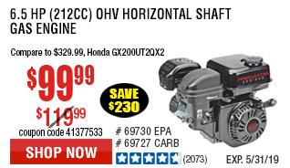 6.5 HP (212cc) OHV Horizontal Shaft Gas Engine EPA