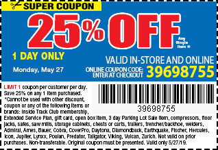 Memorial Day Sale 25% OFF Coupon