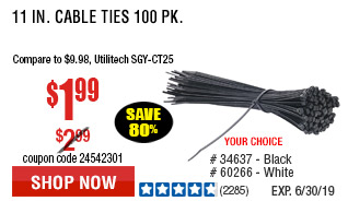 11 in. Black Cable Ties 100 Pk.
