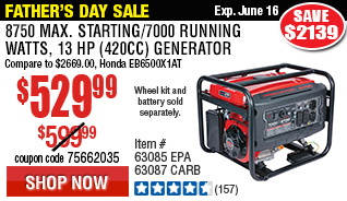 8750 Max Starting/7000 Running Watts, 13 HP  (420cc) Generator CARB with GFCI Outlet Protection